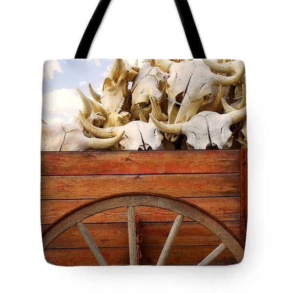 Old Wagon Full Of Buffalo Skulls Tote Bag by Garry Gay