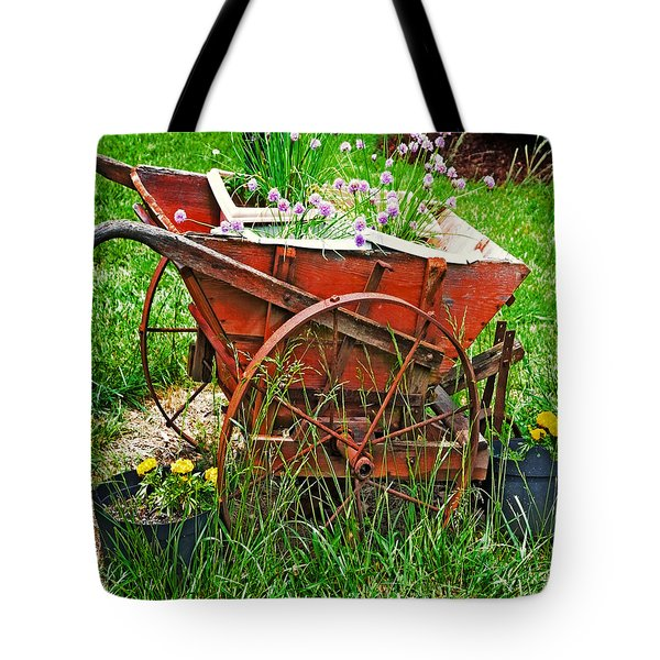 Tote Bag featuring the photograph Old Wheelbarrow by Susan Leggett