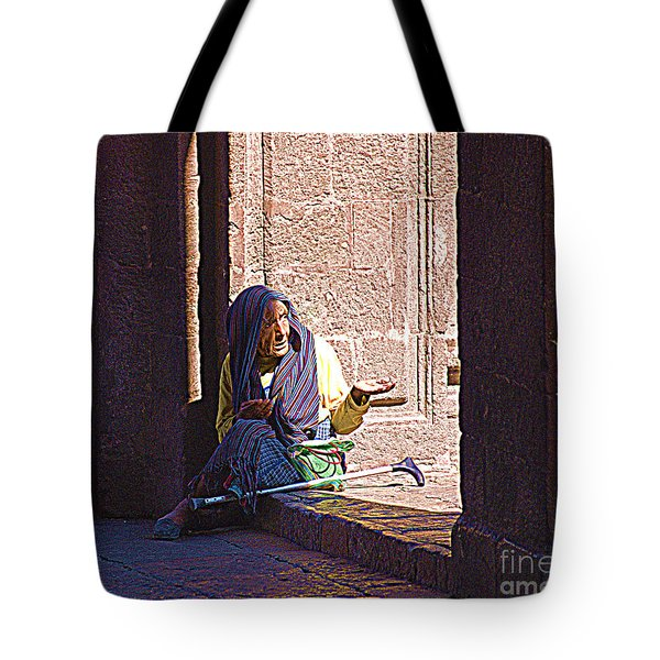 Tote Bag featuring the digital art Old Woman In Centro by John  Kolenberg
