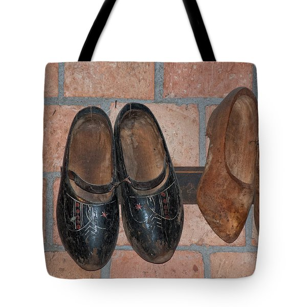 Tote Bag featuring the digital art Old Wooden Shoes by Carol Ailles