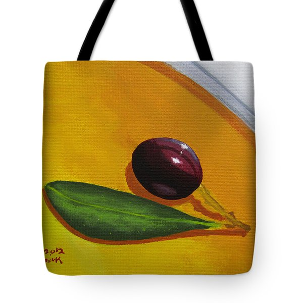 Olive In Olive Oil Tote Bag by Kayleigh Semeniuk