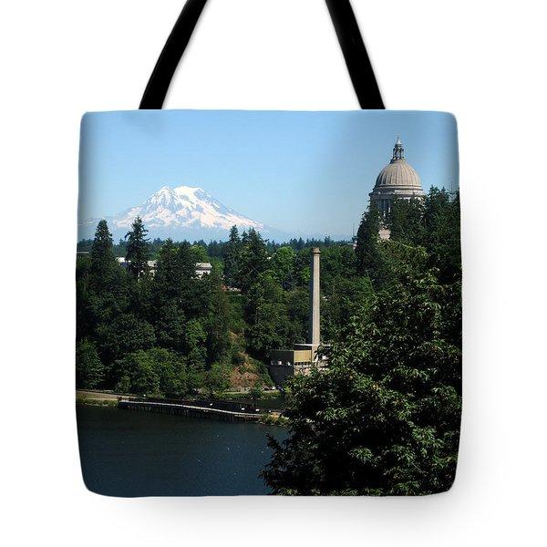 Olympia Wa Capitol And Mt Rainier Tote Bag