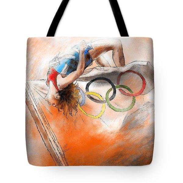 Olympics High Jump Gold Medal Ivan Ukhov Tote Bag by Miki De Goodaboom