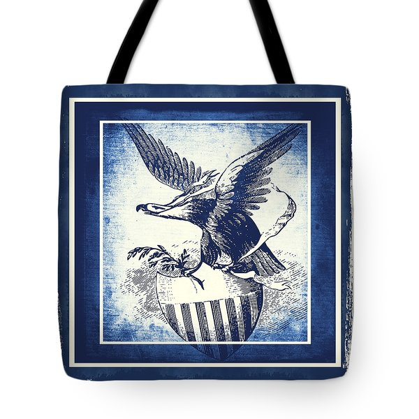 On Eagles Wings Blue Tote Bag by Angelina Vick