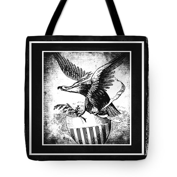 On Eagles Wings Bw Tote Bag by Angelina Vick