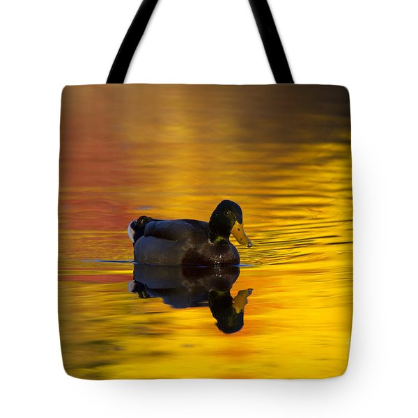 On Golden Waters Tote Bag by Mike  Dawson