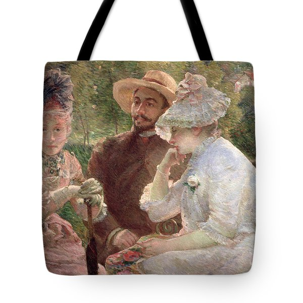 On The Terrace At Sevres Tote Bag by Marie Bracquemond