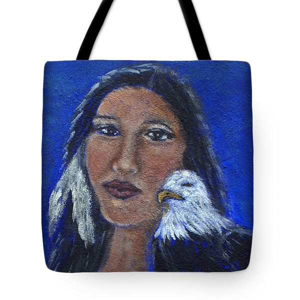 Onawa Native American Woman Of Wisdom Tote Bag by The Art With A Heart By Charlotte Phillips