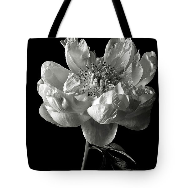 Open Peony In Black And White Tote Bag