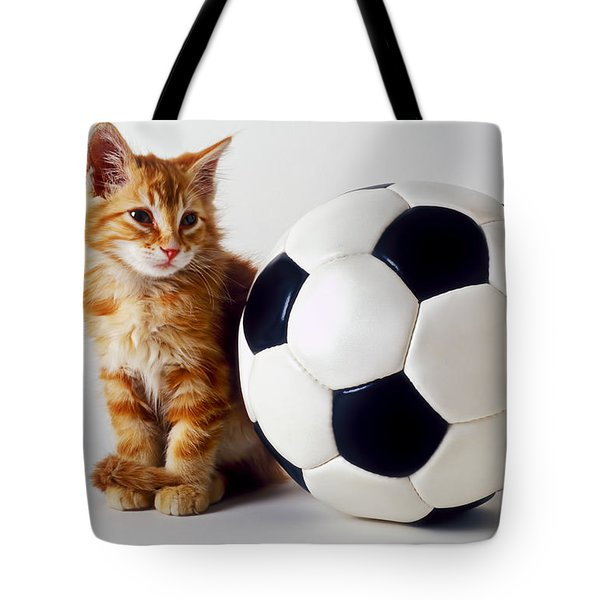 Orange And White Kitten With Soccor Ball Tote Bag by Garry Gay