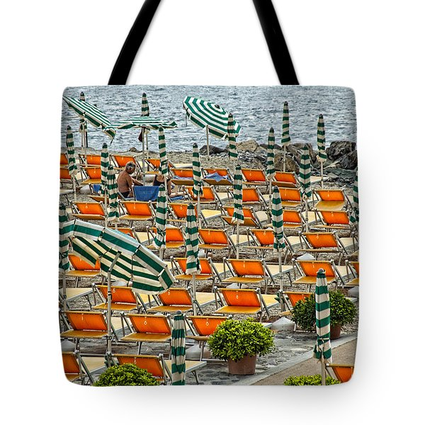 Orange Beach Chairs  Tote Bag by Mauro Celotti