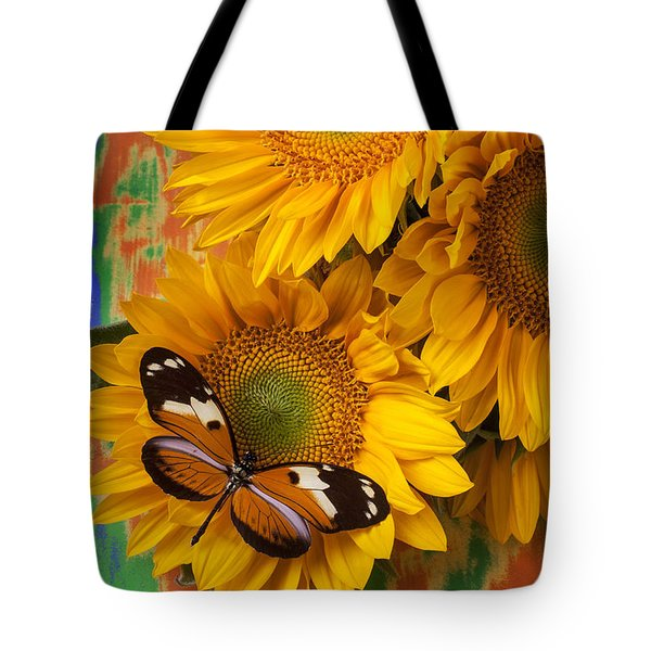 Orange Black Butterfly And Sunflowers Tote Bag by Garry Gay