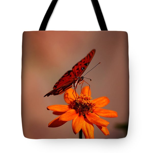 Orange Butterfly Orange Flower Tote Bag