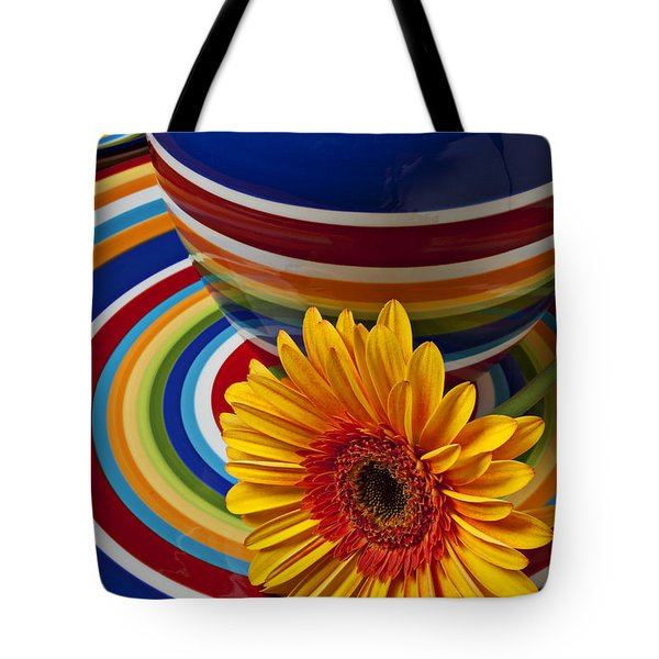 Orange Daisy With Plate And Vase Tote Bag