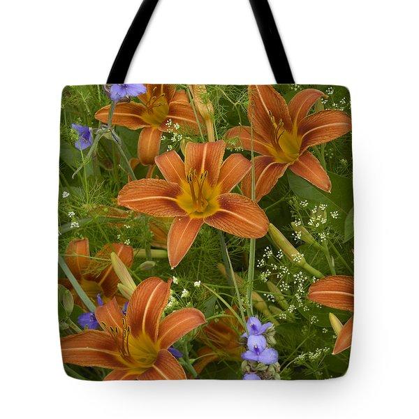 Orange Daylily With Virginia Spiderwort Tote Bag