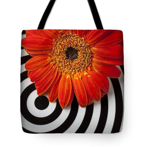 Orange Mum With Circles Tote Bag by Garry Gay