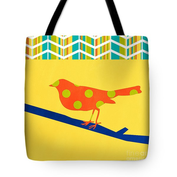 Orange Polka Dot Bird Tote Bag