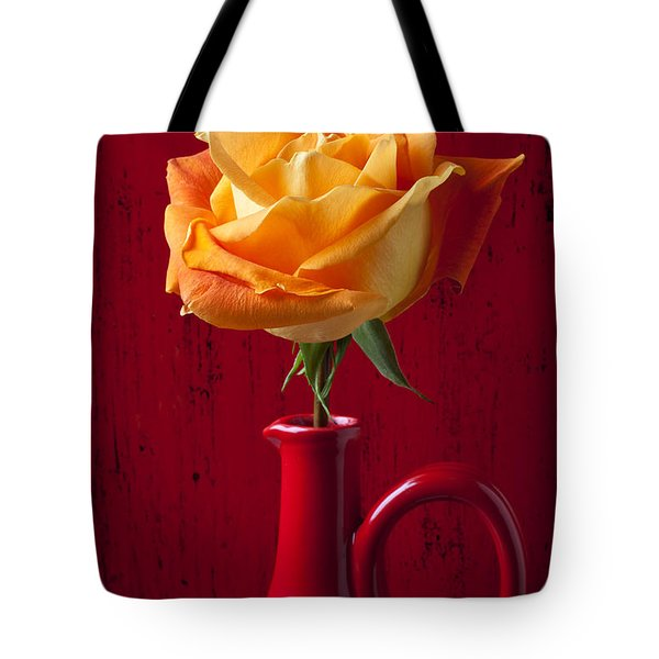 Orange Rose In Red Pitcher Tote Bag by Garry Gay
