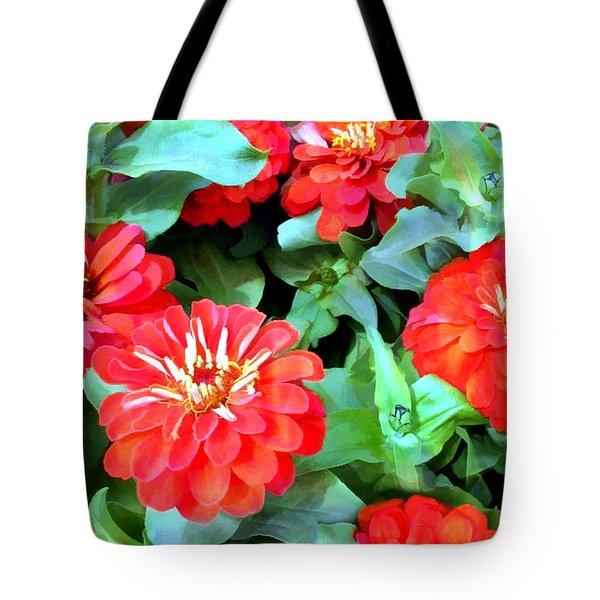Orange Zinnias Tote Bag by Elaine Plesser