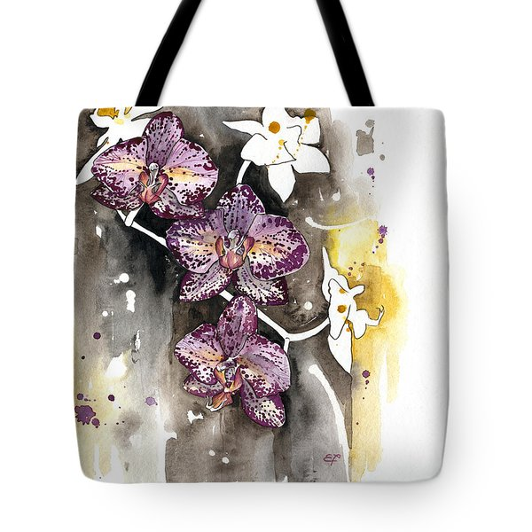 Tote Bag featuring the painting Orchid 13 Elena Yakubovich by Elena Yakubovich