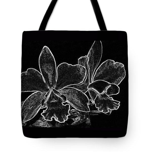 Tote Bag featuring the digital art Orchids - Black And White Abstract by Kerri Ligatich