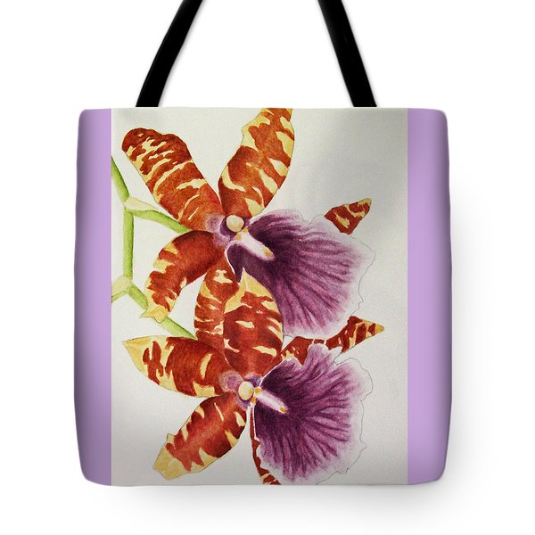Tote Bag featuring the painting Orchids - Tiger Stripes  by Kerri Ligatich
