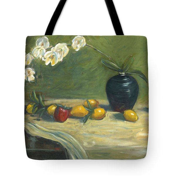 Tote Bag featuring the painting Orchids And Vase by Marlyn Boyd