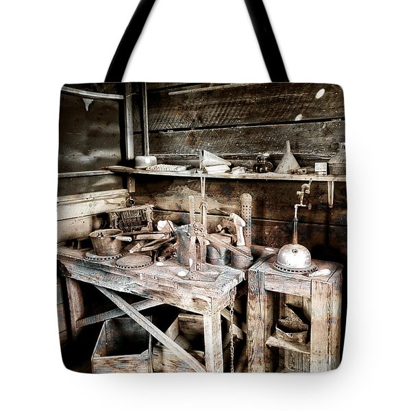 Ore Assay Shop Work Bench - Molson Ghost Town Tote Bag by Daniel Hagerman