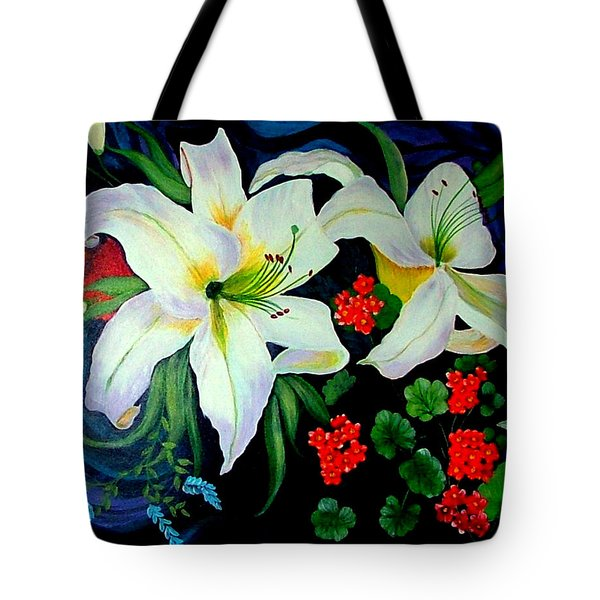 Tote Bag featuring the painting Oriental Lily by Fram Cama