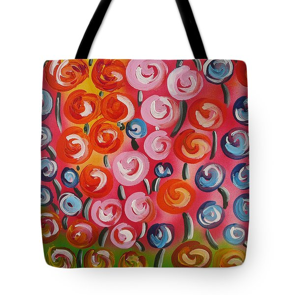 Original Modern Impasto Flowers Painting  Tote Bag by Gioia Albano