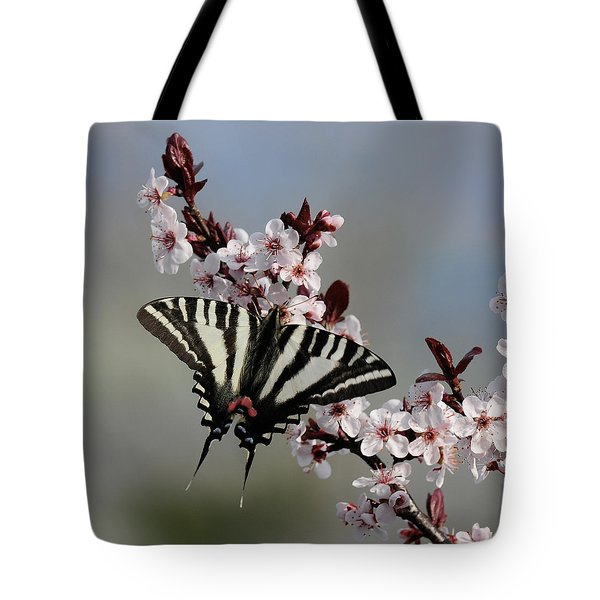 Ornamental Plum Blossoms With Zebra Swallowtail Tote Bag