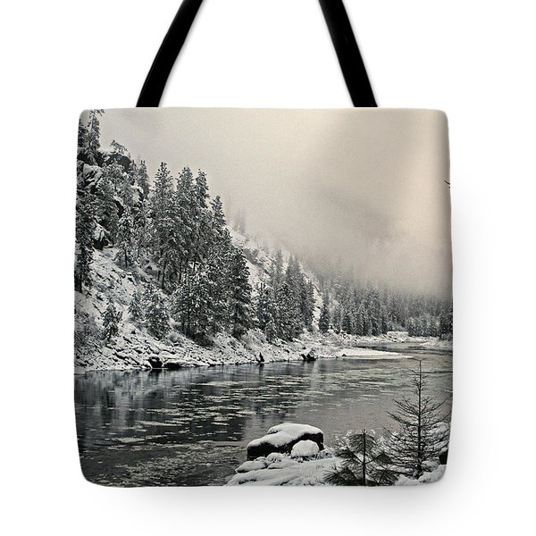 Orofino Snow Clearwater River Tote Bag