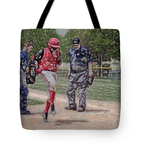 Ouch Baseball Foul Ball Digital Art Tote Bag by Thomas Woolworth