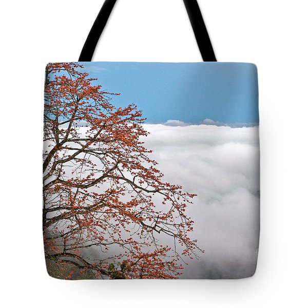 Tote Bag featuring the photograph Out Of The Clouds by Sonny Marcyan