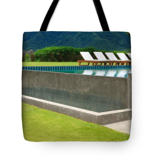 Outdoor Swimming Pool Tote Bag by Atiketta Sangasaeng