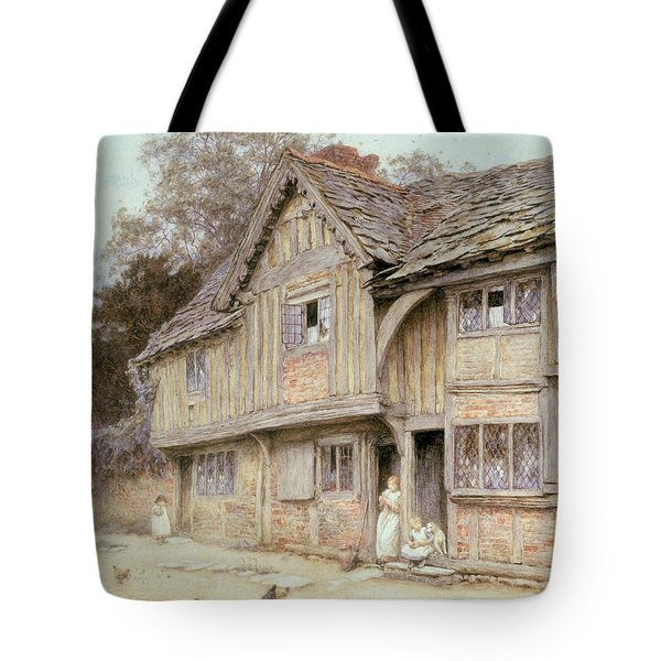 Outside A Timbered Cottage Tote Bag by Helen Allingham