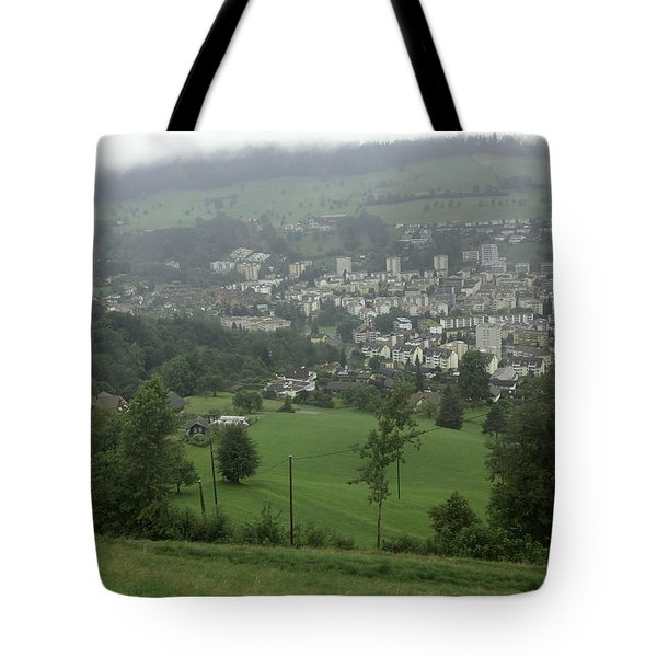 Ovehead View Of Houses From The Gondola Starting At Kriens In Switzerland Tote Bag by Ashish Agarwal