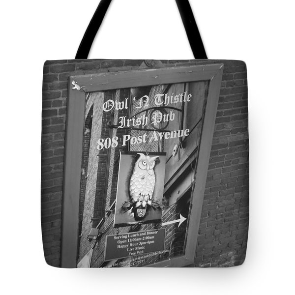 Owl And Thistle Irish Pub Tote Bag by Kym Backland