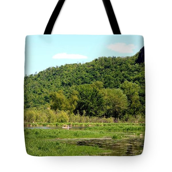 Kayaking Under The Bluffs Tote Bag