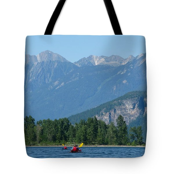 Tote Bag featuring the photograph Paddling In The Kootenays by Cathie Douglas