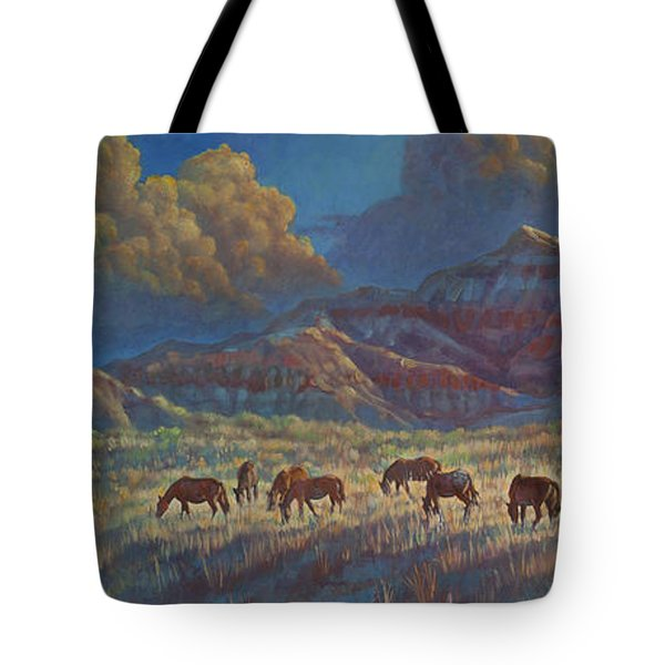 Tote Bag featuring the painting Painted Desert Painted Horses by Rob Corsetti