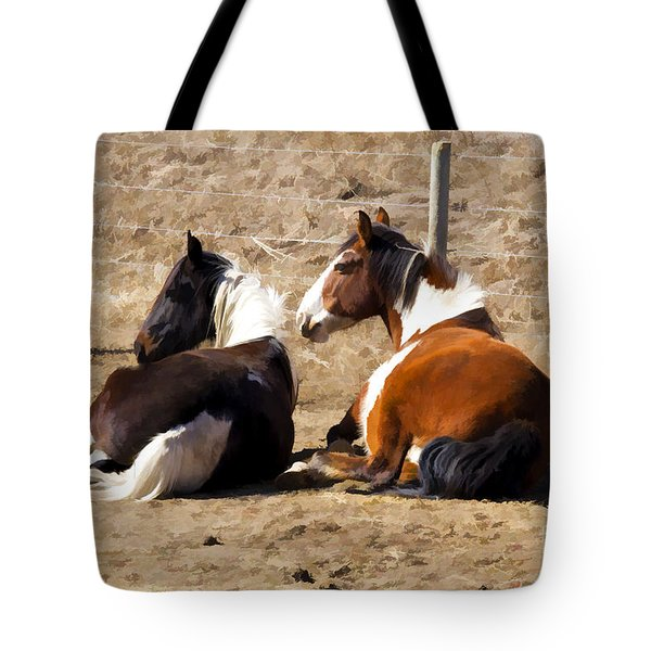 Tote Bag featuring the photograph Painted Horses I by Angelique Olin