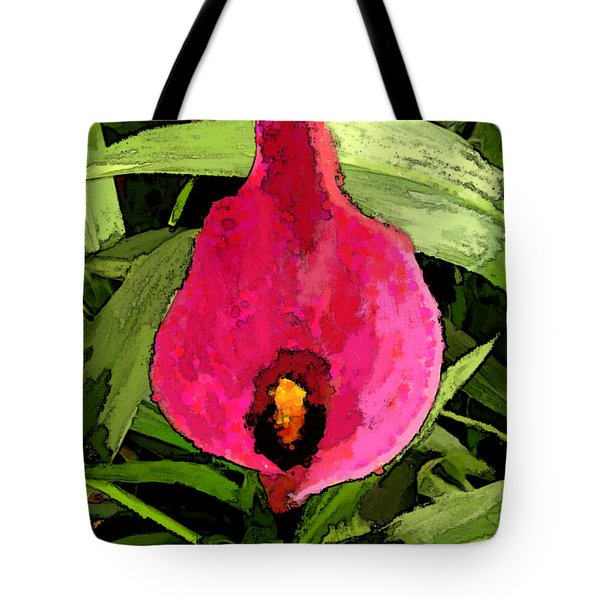 Tote Bag featuring the photograph Painted Pink Cala Lily by Debbie Portwood