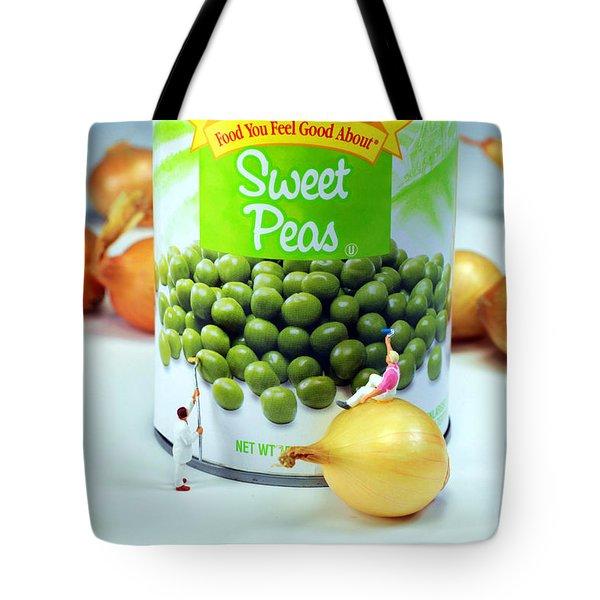 Painting Sweet Peas Poster Tote Bag by Paul Ge