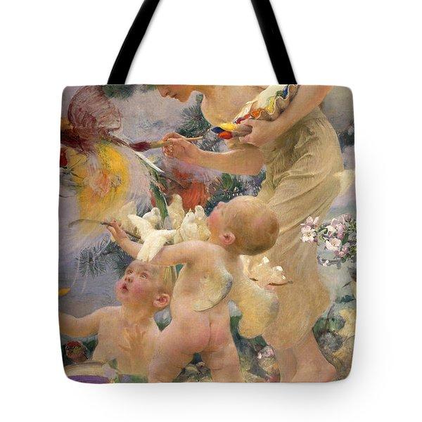 Painting The Birds Tote Bag by Franz Dvorak