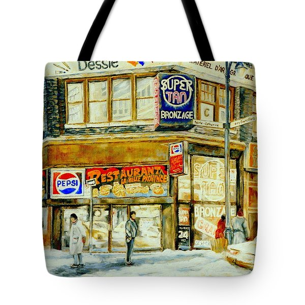 Paintings Of Montreal Streets Downtown Restaurants Rue Ste. Catherine City Scene Tote Bag by Carole Spandau