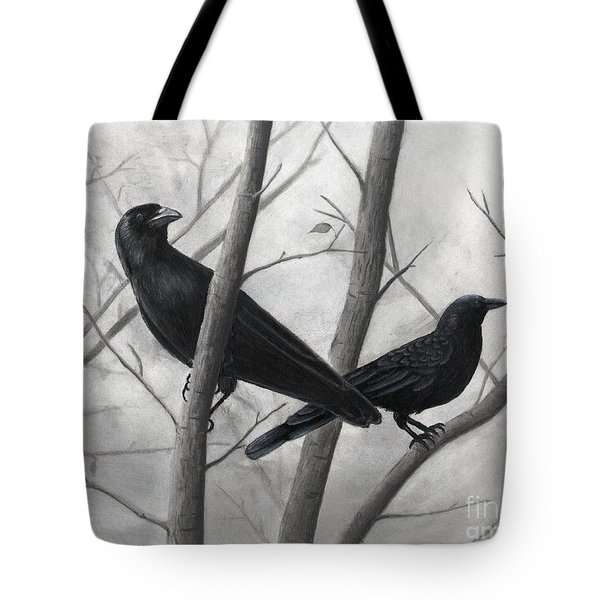Pair Of Crows Tote Bag by Christian Conner