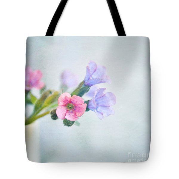 Pale Pink And Purple Pulmonaria Flowers Tote Bag by Lyn Randle