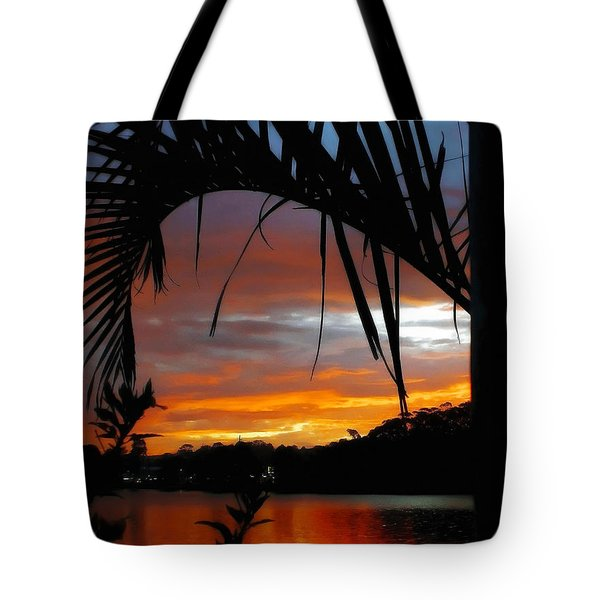 Palm Framed Sunset Tote Bag by Kaye Menner