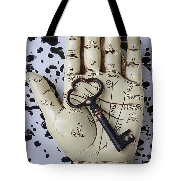 Palm Reading Hand And Key Tote Bag by Garry Gay